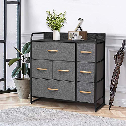Crestlive Products Wide Fabric Dresser with 7 Drawers Storage Tower with Large Capacity Organizer Unit for Bedroom Living Room Hallway Entryway Closets - Sturdy Steel Frame Bins WoodGray