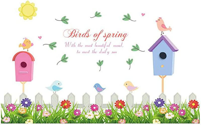 Vosarea Wall Sticker Birds Of Spring Fence Wall Decals Peel Stick Removable Mural Wall Paper For Nursery Bedroom Living Room Kindergarten Decor