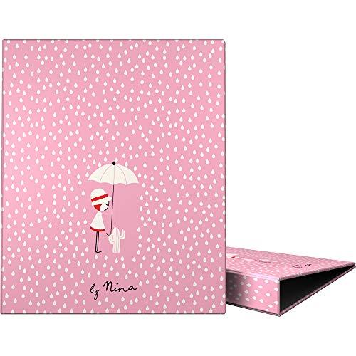 Grafoplás 88141975 Colección Nina And Other Little Things Carpeta de 4 Anillas Mixtas 25mm, Modelo Rain, A4