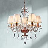 Saint Mossi 5 luminoso lampadario in cristallo luce d'oro, luce in cristallo che pende dal lampadario moderno per camera da letto, soggiorno, sala da pranzo, H61cm x 63cm, catena regolabile