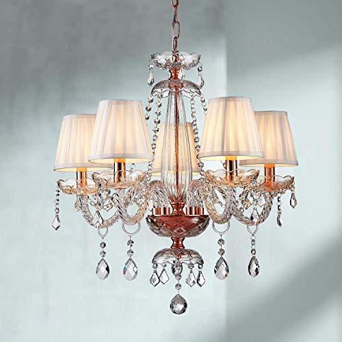 Saint Mossi Moderne Kristallglas Kronleuchter Beleuchtung Deckenleuchter Lampe 5 Arme mit E14 Sockel Rose Gold Finish Stoffschirme