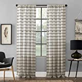 Clean Window Twill Stripe Allergy/Pet Friendly Anti-Dust Sheer Curtain Panel, 52' x 63', Black/Linen