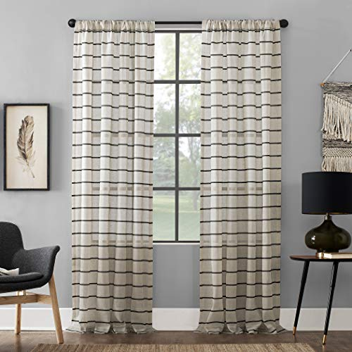 Clean Window Twill Stripe Allergy/Pet Friendly Anti-Dust Sheer Curtain Panel, 52u0022 x 63u0022, Black/Linen
