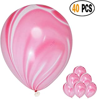 Mayen 40 Pcs 12 Inches Pink Agate Marble Latex Balloons, Tie Dye Swirl Balloons Helium Balloons for Birthday Party Decorations Wedding Baby Showers