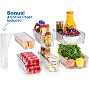 Sagler S Fridge Organizers Set of 10-Stackable Refrigerator Bins, Set Includes 6 Food containers and 4 precut Shelf Liners shelf's, Clear