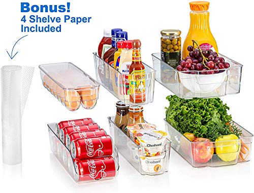 fridge bins and organizers Set of 10 - Stackable refrigerator bins set includes 6 bins for food containers and 4 precut shelf liners for fridge shelf's
