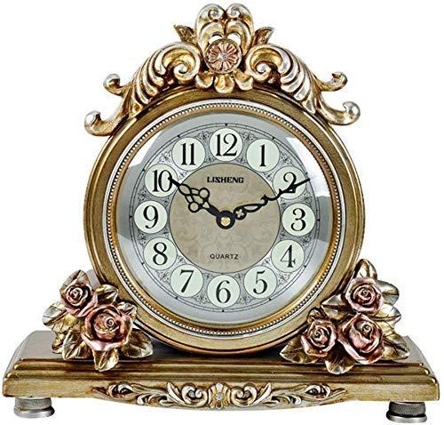 YEESEU Escritorio Reloj de los Relojes de la Familia Reloj de la Chimenea, Resina silenciosa for no marcando Decoración for Sala de Estar de Noche Reloj de Mesa adecuados for salón Dormitorio Oficina