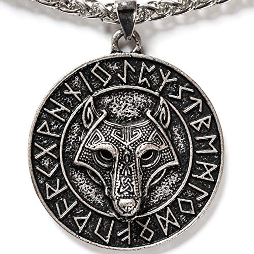 OMASKA Norse Viking Vintage Nordic Runes Wolf Jewelry Wolf Head Totem Necklace Celtic Fenrir Medallion Amulet Protection Pendant Necklace Viking Gifts Wolf Gifts for Men Boys and Women