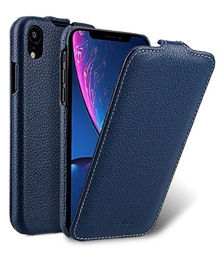 MELCKO Tasche passend für Apple iPhone XR (6,1 Zoll), Hülle Außenseite aus beschichtetem Leder, Schutz-Hülle klappbar, Flip-Hülle, Ultra-Slim Cover, Etui, Blau
