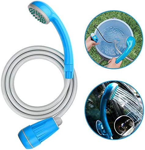 LIBERRWAY Portable Shower Camping Travel Shower Outdoor with 3-Year Warranty, Rechargeable Battery Dag Shower head Hose USB Cable Water Pump for Bike Car Washing Pet Cleaning Garden Watering