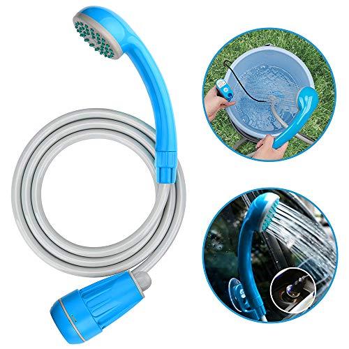 LIBERRWAY Campingdusche Akku Camping Dusche Outdoor Mit 3 Jahren Garantie 5.9ft duscheschlauch und wiederaufladbarer Akku Wasserpumpe für Garten Reisen Autowäsche - Blau