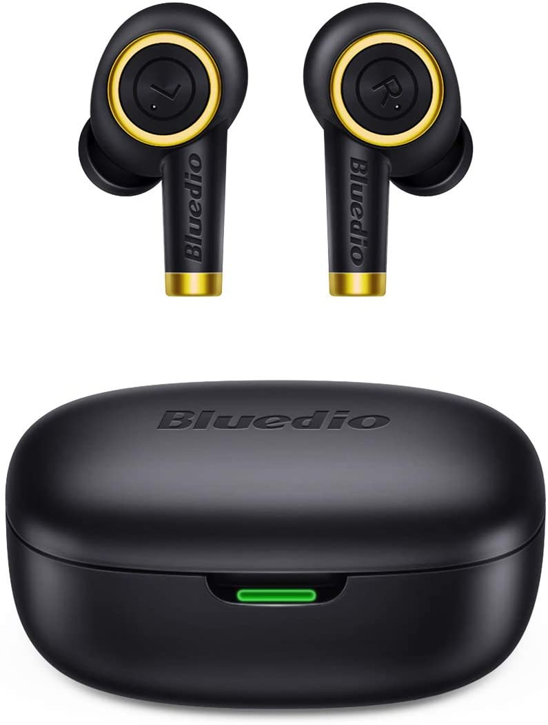Bluetooth Wireless Earbuds, Bluedio P(Particle) Wireless Earbud Headphones in-Ear Earphones with Charging Case, Mini Car Headset Built-in Mic for Cell Phone/Running/Android, 6Hrs Playtime, Black