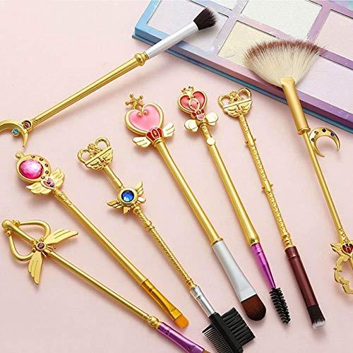 Terilizi 8 Pcs Or Sakura Sailor Moon Marque Pinceaux De Maquillage Ensemble Cosmétique Poudre Fondation Fard À Paupières Brosse Maquillage Outil