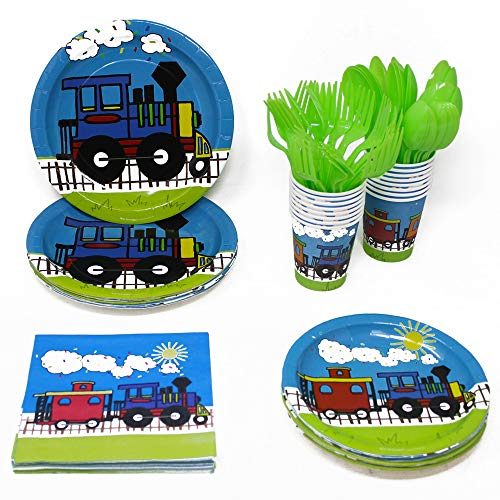 Blue Orchards Train Party Supplies Packs (113+ Pieces for 16 Guests!), 1st Birthday Tableware, Baby Shower Supplies, Train-Themed Birthday