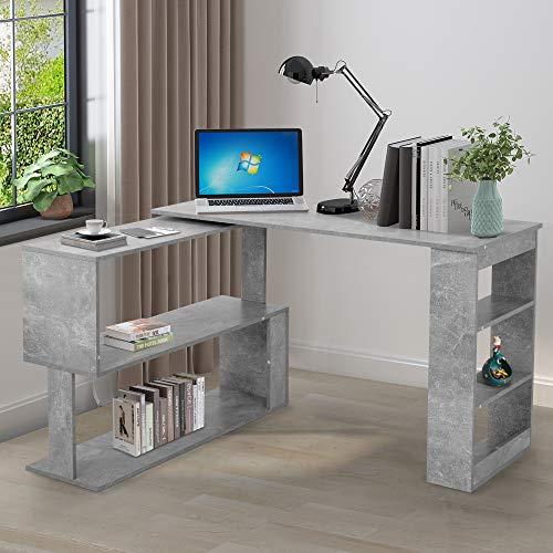 Computertisch L-förmiger Schreibtisch Winkelschreibtisch Eckschreibtisch Arbeitstisch Bürotisch Gaming Tisch Schrank, 360-Grad-Drehung, Offene Regale zur Aufbewahrung, Grau