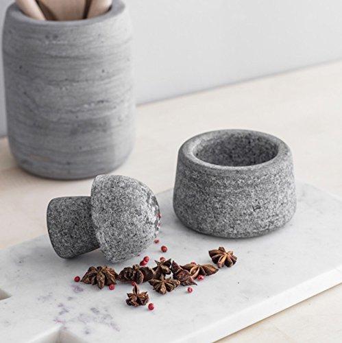 CKB Ltd® Granit Mörser und Stößel Spice Crusher Set Gewürz Kräuter Samen Salz und Pfeffer Crusher Schleifstifte Mahlwerk natur aus traditionellem Steinzeug Küche Kochen Werkzeug–Granit