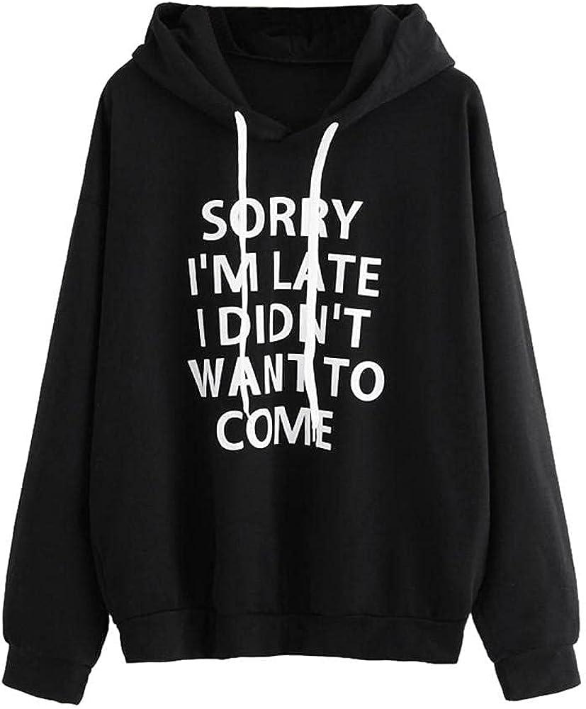 UQGHQO Fashion Hoodies for Women Long Sleeve Loose Blouse Pullover Teen Girls Letter Print Drawstring Hoodie Sweatshirt