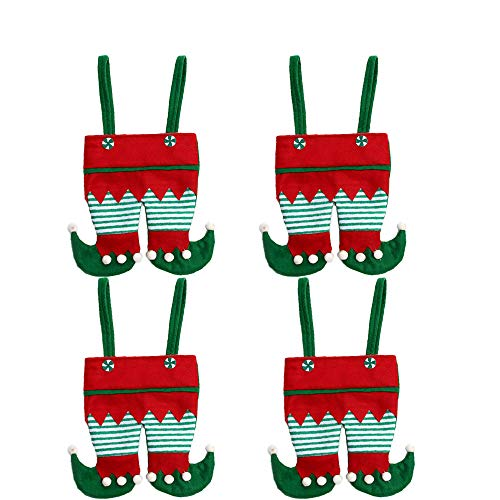 Fazeer 4pcs Christmas Santa Sack elf Gift Bags candy Large Gift Wrapping Bags for Xmas Present Toys Huge Gifts Storage Bags
