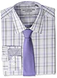 Nick Graham Men's Stretch Modern Fit Mini Plaid Dress Shirt and Solid Tie Set, Purple, 17-17.5' Neck / 36-37' Sleeve