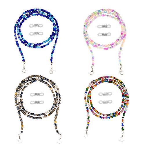 TOYMIS - Collar con cuentas de 4 piezas de 27,5 pulgadas, soporte de anteojos con cuentas multicolores para cadena extensora de correa para mujeres, hombres, niños alrededor del cuello