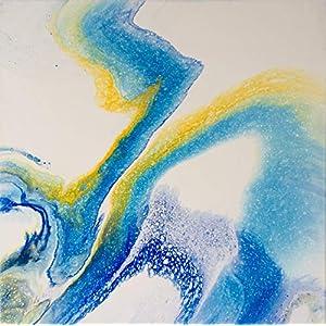 40 x 40 x 1,7cm I Acryl Pouring I original handgemaltes Unikat I weiß, blau, gold I Leinwand auf Keilrahmen I Moderne…