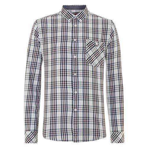 Merc London pour Hommes Carreaux Lincoln Manches Longues Chemise Boutonnière - Sky - Xx-Large
