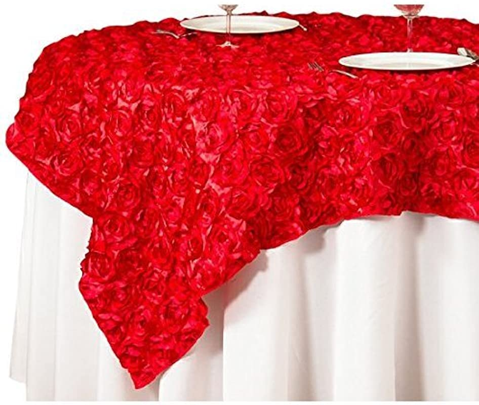 LinenTablecloth Rosette Satin Square Overlay Tablecloth 85 Inch Red
