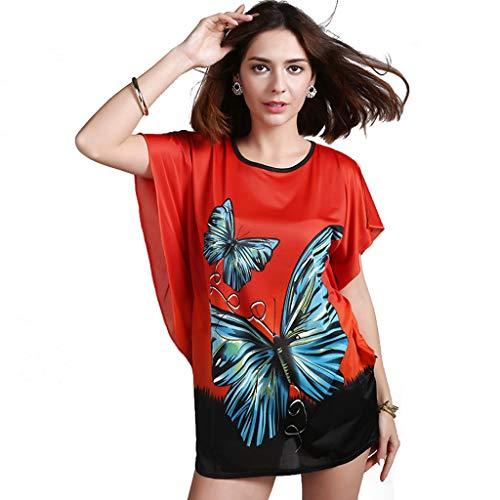 BININBOX Damen Nachthemd Nachtwäsche 1/2 Ärmel aus Eisseidenbaumwoll Nachtkleid mit Schmetterling Bademantel Neligee Dessous (Rot)
