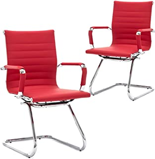 Wahson Heavy Duty Leather Office Guest Chair Mid Back Sled Reception Conference Room Chairs, Set of 2 (Deep Red)