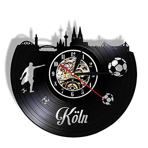 YANGSHUANG Handmade Vinilo Pared Reloj Colonia Ciudad Jugando al fútbol Reloj de Pared de Vinilo Reloj de Pared de Arte Creativo Hecho a Mano, Movimiento de Cuarzo silencioso, diámetro 30 cm