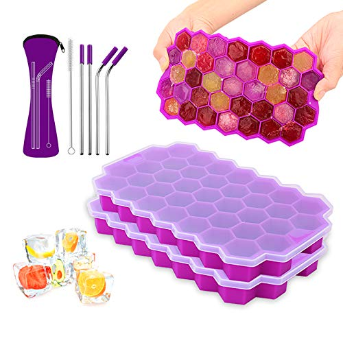 Ice Cube Trays with Lids - LeeHoop 2 Pack 74-Ice Trays Food Grade BPA Free Silicone Flexible Ice Cube Molds, for Chilled Drinks, Whiskey, Cocktail (Purple with Stainless Steel Straws)