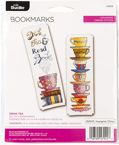 Bucilla 47921E Counted Cross Stitch Bookmarks Kit, 2.5' x 8', Set of 2, Mini Drink Tea