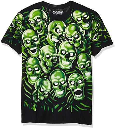 Liquid Blue unisex adult Skull Pile T-shirt T Shirt, Black, Large US