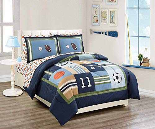 MK Home 7pc Queen Comforter Set Sport Navy Blue Green White Orange Brown Boys/Teens Football Basketball Baseball Soccer New