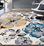 Modern Floral Area Rugs 5' X 7' Cream
