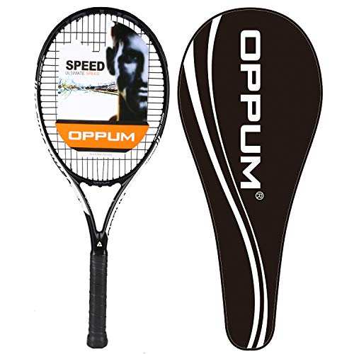 oppum New Graphene Ultra Carbon Pro Tennis Racket, 360 Super Light Speed Team Tennis Raccquet (Graphene Racket PRO-2000 (Black White), 4 3/8)
