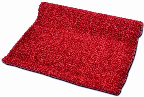 Cristina Carpets Vanity - Alfombra de algodón, brillante y brillante, para baño y cocina, antideslizante y lavable, color rojo, 50 x 80 cm