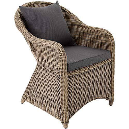 TecTake Aluminium Chaise de Jardin Salon Fauteuil siège en Style Osier résine tressée avec Coussin et Coussin de Dossier - diverses Couleurs au Choix - (Marron Naturel | no. 401766)