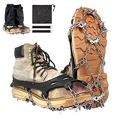 Ice Cleats Crampons Traction, Ice Snow Grips Walk Traction Ankle Gaiters with Anti-slip 19 Stainless Steel Spikes / Durable Silicone for Men Women Walking, Jogging, Climbing or Hiking on Snow and Ice