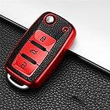 BYTT Estuche clave for Polo Golf 4 3 6 5 6 MK6 B5 B6 B8 B7 Jetta Lavida Octavia (Color Name : Red)
