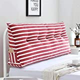 ETWJ <span class='highlight'>Stripe</span> <span class='highlight'>Bolster</span> <span class='highlight'>Triangular</span> <span class='highlight'>Large</span> <span class='highlight'>Wedge</span> Pillow, Upholstered Headboard Reading Backrest Removable and Washable Suitable for Bedside Sofa (Color, Brown, Size, 150x50cm),Red,100x50cm