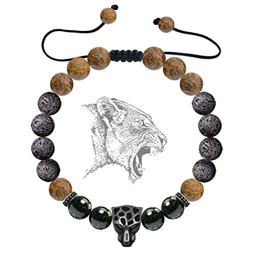 Karseer Black Panther Anxiety Bracelet Lava Rock Essential Oil Diffuser Bracelet Gift for Men and Women, Natural Green Goldstone and Calligraphy Stone Beads Healing Stone Bracelet for Calming Emotions