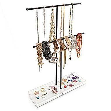 2 Tier Black Metal Jewelry Storage Display Rack w/ Clear Acrylic Ring Dish / Necklace & Bracelet Stand
