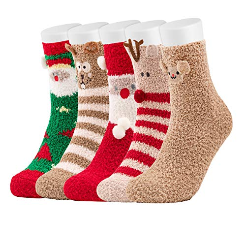 Easycosy Weihnachten Kuschelsocken Damen Socken 5 Paar Winter Warme Wintersocken Hausschuhsocken süße Interessant Cartoon Charakter Funny Crew Socken Geschenk für Frauen Freundin