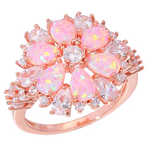CiNily Flower Opal Ring-Pink Opal Cubic Zirconia CZ Ring 14K Rose Gold Plated Gemstone Promise Engagement Ring for Women (8)
