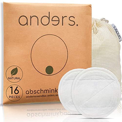 Anders Lot de 16 tampons de maquillage réutilisables en coton et bambou