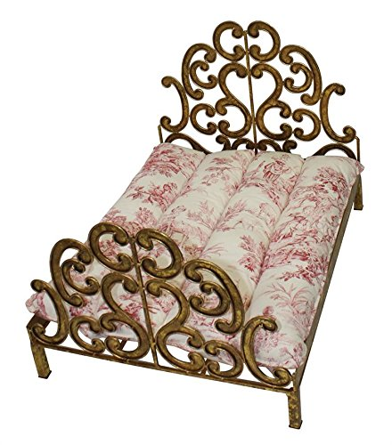 Lavish Gold Scroll Fretwork Dog Bed | Antique Vintage Style Pet Small