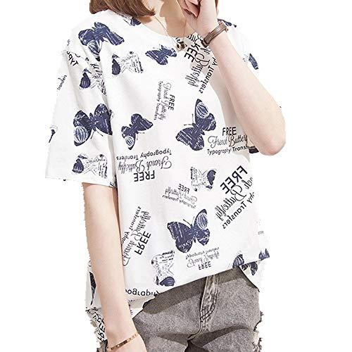 Camiseta de manga corta para mujer. Blanco XXXXL