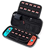 Carrying Case for Nintendo Switch, SPERVS Portable Carry Cases & Storage with 20 Game Cartridges Hard Shell Pouch for Nintendo Switch Console & Accessories , Switch Travel Case( Gray)