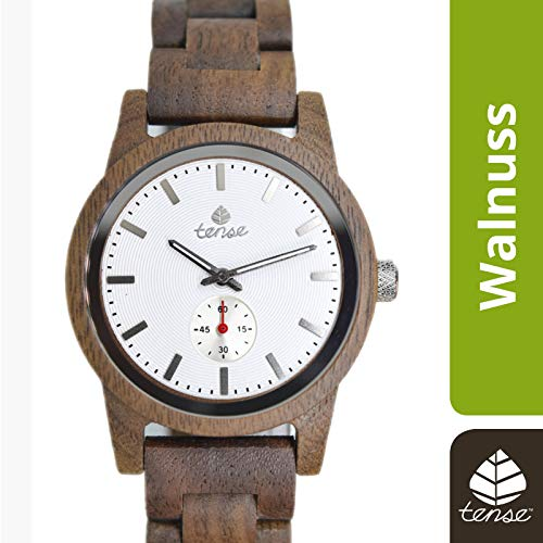 TENSE Holzuhr Herren Walnussholz Ø 40 mm Armbanduhr Hampton analog Quarz B4700W-W